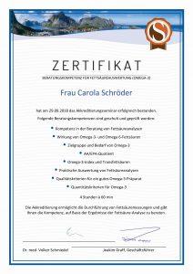 Omega 3 Beratung Zertifikat